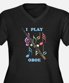 I Play Oboe Women's Plus Size V-Neck Dark T-Shirt