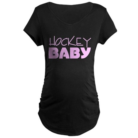 Hockey Baby (Pink) Maternity Dark T-Shirt