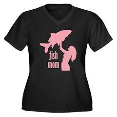 Fish Mom Women's Plus Size V-Neck Dark T-Shirt