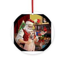 Santa and his Greyhound Ornament (Round)