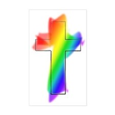 Rainbow Cross Rectangle Decal