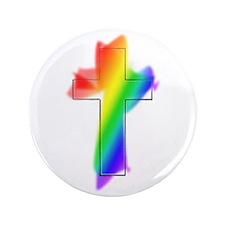 "Rainbow Cross 3.5"" Button"