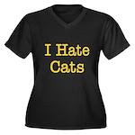 I Hate Cats Women's Plus Size V-Neck Dark T-Shirt
