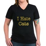 I Hate Cats Women's V-Neck Dark T-Shirt