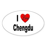 I Love Chengdu China Oval Sticker (10 pk)