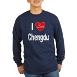 I Love Chengdu China (Front) Long Sleeve Dark T-Sh