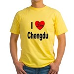 I Love Chengdu China (Front) Yellow T-Shirt