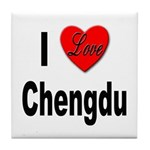 I Love Chengdu China Tile Coaster