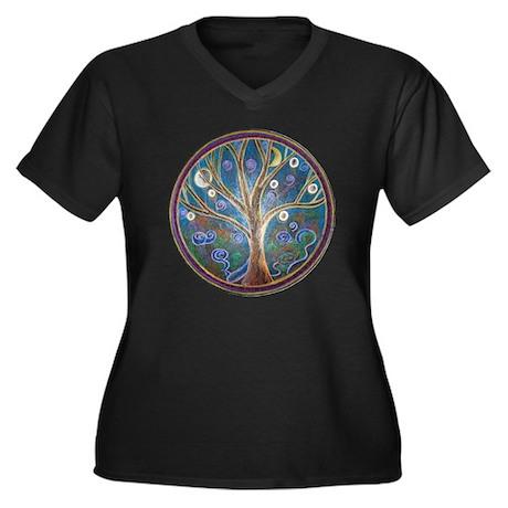 'Tree of Life' - Women's Plus Size V-Neck Dark T-S