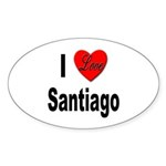 I Love Santiago Chile Oval Sticker (10 pk)