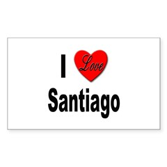 I Love Santiago Chile Rectangle Decal
