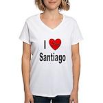 I Love Santiago Chile (Front) Women's V-Neck T-Shi