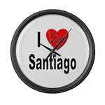 I Love Santiago Chile Large Wall Clock