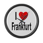 I Love Frankfurt Germany Large Wall Clock