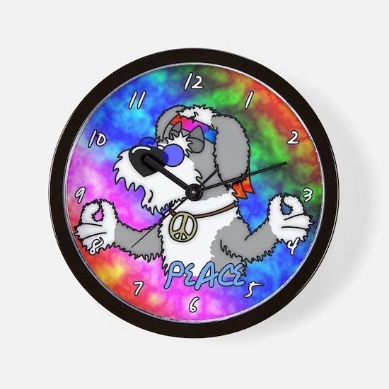 Hippie Old English Sheepdog Clock
