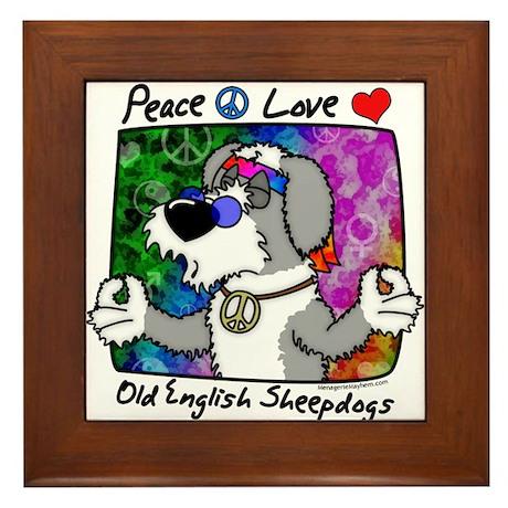 Hippie Old English Sheepdog Framed Tile