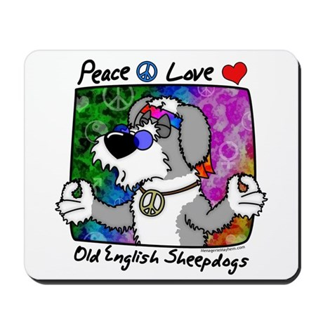 Hippie Old English Sheepdog Mousepad