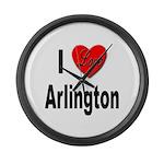 I Love Arlington Large Wall Clock