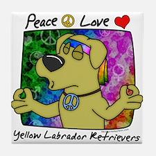 Hippie Yellow Lab Tile Coaster