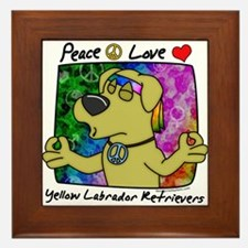 Hippie Yellow Lab Framed Tile