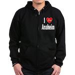 I Love Anaheim California (Front) Zip Hoodie (dark