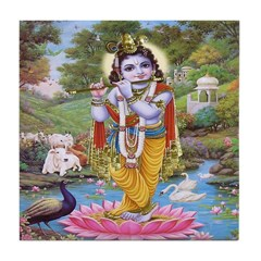 Krishna on Lotus Tile Coaster