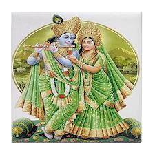 Krishna and Radha in Green Tile Coaster