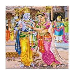 Wedding of Rama and Sita Tile Coaster
