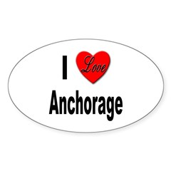 I Love Anchorage Alaska Oval Sticker (10 pk)
