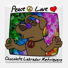 Hippie Chocolate Lab Tile Coaster