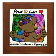 Hippie Chocolate Lab Framed Tile