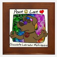 Hippie Chocolate Lab Framed Tile