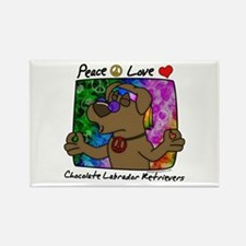 Hippie Chocolate Lab Rectangle Magnet