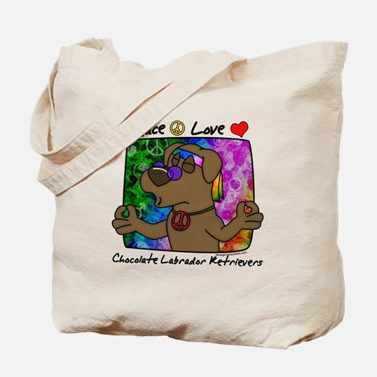Hippie Chocolate Lab Tote Bag