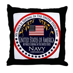 Navy Niece Throw Pillow