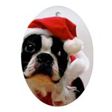 Boston terrier Oval Ornaments