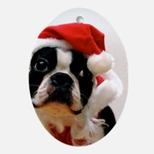 Boston Terrier Santa Claus Oval Ornament