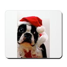 Boston Terrier Santa Claus Mousepad