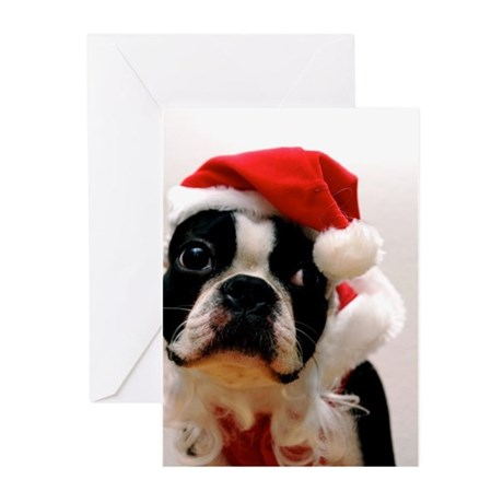 Boston Terrier Santa Claus Greeting Cards (Pk of 2