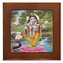 Krishna on Lotus Framed Tile