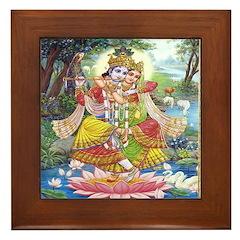 Krishna and Radha Dancing Framed Tile