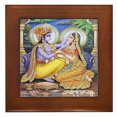 Krishna and Radha Framed Tile