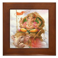 Ganesh on Elephant Framed Tile