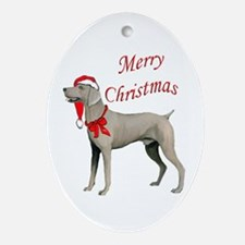 Weimaraner Santa Oval Ornament