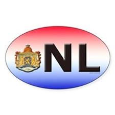 Netherlands (NL) Oval Stickers