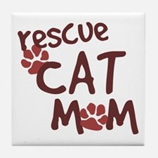 Rescue Cat Mom Tile Coaster