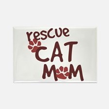 Rescue Cat Mom Rectangle Magnet