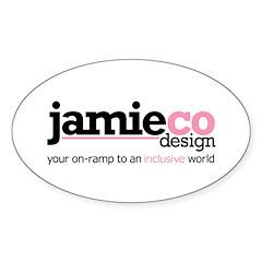 JamieCo Design Logo Oval Sticker (10 pk)