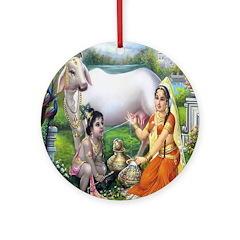 Yashoda and Krishna Ornament (Round)