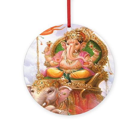 Ganesh on Elephant Ornament (Round)